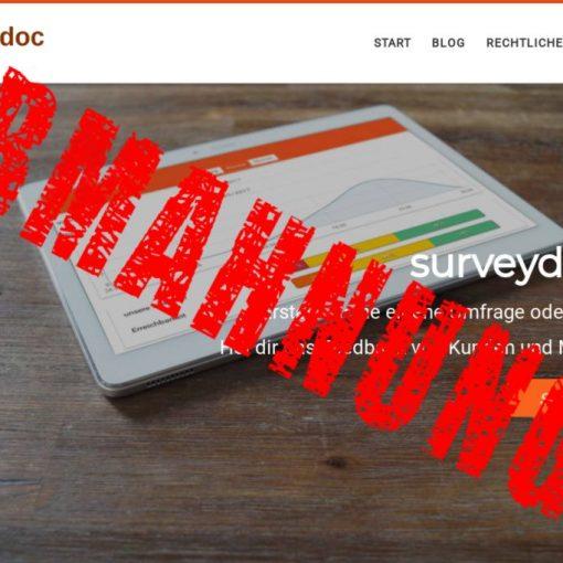 surveydoc online Befragungstool abgemahnt